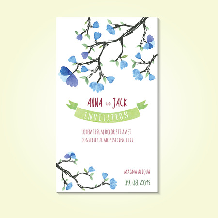 Watercolor card templates for wedding invitation save the date cards mothers day valentines day birthday cards with flowers and ribbon for inscription Vector illustration