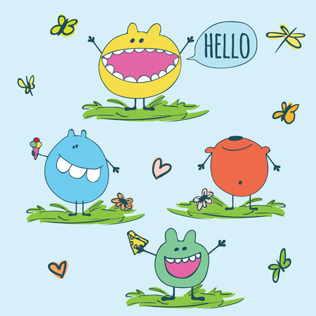 Set of cute monsters isolated on a blue background with round chat bubbles with text hello