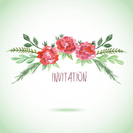 Watercolor pink red and green card templates for wedding invitation save the date cards mothers day valentines day birthday cards with flowers and inscription Vector illustration eps 10