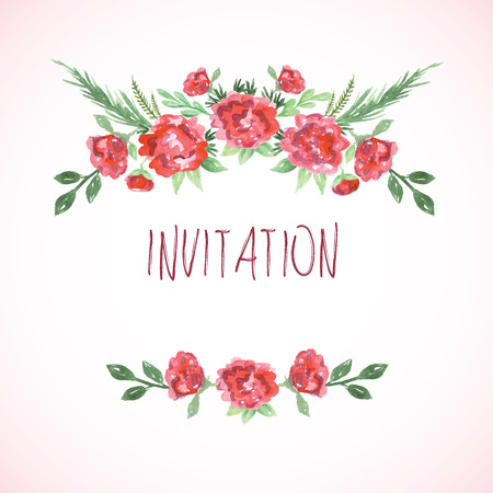 Watercolor pink red and green card templates for wedding invitation save the date cards mothers day valentines day birthday cards with flowers and inscription Vector illustration Illustration