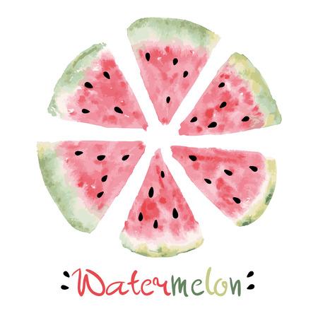 Aquarel plakken van zoete watermeloen met zaden Vector eps 10 Stock Illustratie