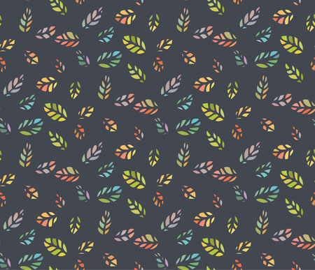 Seamless pattern of colorful tiny leaf silhouette  Illustration
