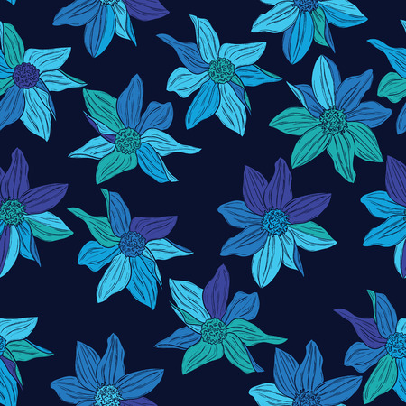 Seamless pattern of modern design azure flower silhouette