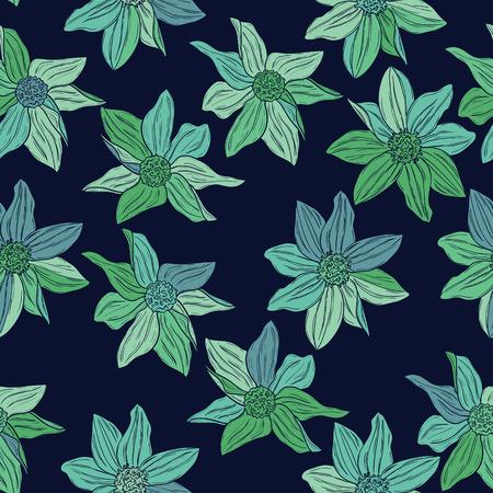 azure: Seamless pattern of modern design azure flower silhouette
