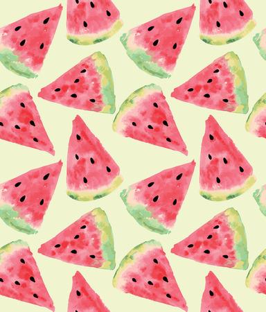 Naadloos patroon van zoete sappige stukken watermeloen aquarel met zaad Vector illustratie