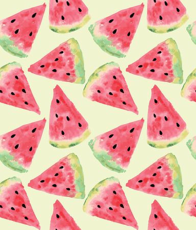 watermelon slice: Seamless pattern of sweet juicy pieces watermelon watercolor with seed Vector illustration