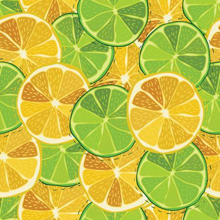lemon lime: Agrume colore frutta succosa di limone, lime seamless pattern vettore