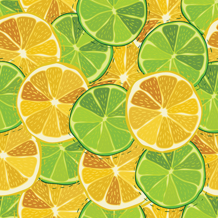 lemon lime: Color citrus juicy fruit of lemon, lime seamless pattern Vector illustration