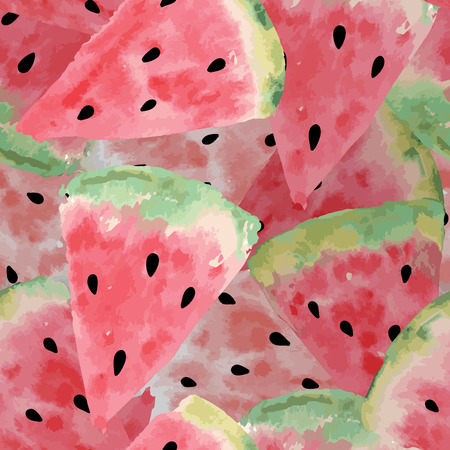 Seamless pattern of sweet juicy pieces watermelon watercolor with seed Vector illustration