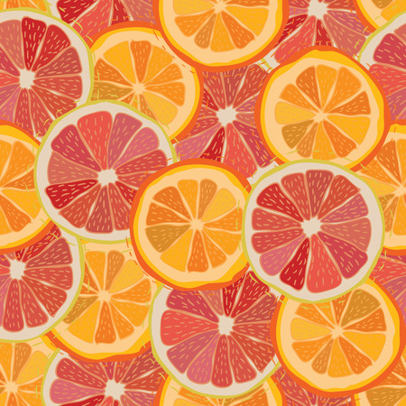 grapefruit: Color citrus juicy fruit of orange, grapefruit seamless pattern Vector illustration eps10