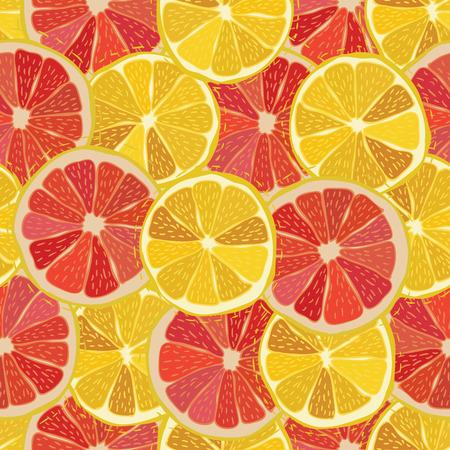 Color citrus juicy fruit of lemon, grapefruit seamless pattern Vector illustration  Illustration