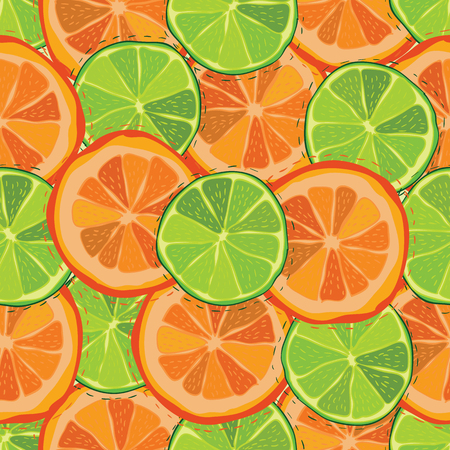 Color citrus juicy fruit of grapefruit, lime seamless pattern