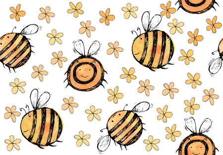美しく、創造的な素敵な水彩画明るい黄色、オレンジ色の蜂の白地ベクトル イラスト カード、スクラップ ブックのための花のシームレス パターン  イラスト・ベクター素材