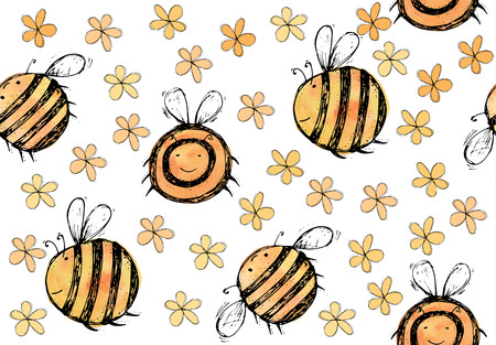 yellow orange: Seamless pattern of beautiful, creative and nice watercolor bright yellow, orange bee with flowers for scrapbook, card on a white background Vector illustration