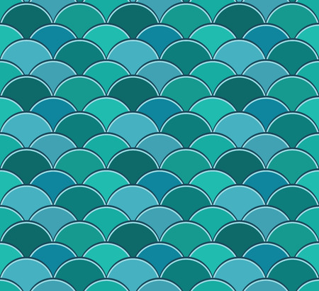 Seamless pattern of semicircles in squama style Stock Illustratie