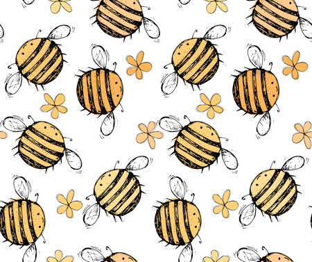 Seamless pattern of beautiful, creative and nice bright  yellow, orange bee with flowers for scrapbook, card on a white background Vector illustration