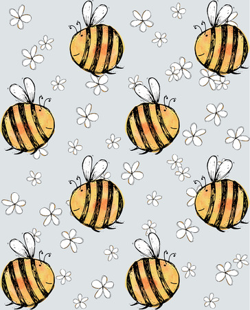Seamless pattern of beautiful, creative and nice watercolor bright  yellow, orange bee with flowers for scrapbook, card on a gray background Vector illustration