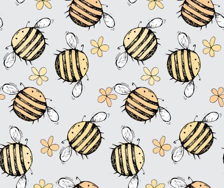 Naadloos patroon van mooi, creatief en mooi helder geel, oranje bij met bloemen voor scrapbook, kaart op een grijze achtergrond Vector illustratie Stock Illustratie