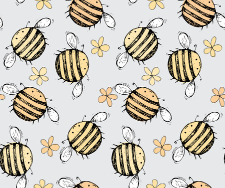 Seamless pattern of beautiful, creative and nice bright yellow, orange bee with flowers for scrapbook, card on a gray background Vector illustration