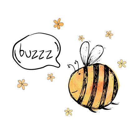 cute graphic: Beautiful, creative and nice bright yellow, orange bee with flowers and with round chat bubbles for text for card on white background Vector illustration