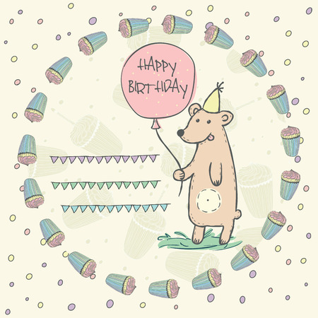 pink brown: Wild animal brown bear with pink balloon, grass, garlands, cap in a wreath of birthday cupcakes for invitation, birthday cards with space for text Vector illustration