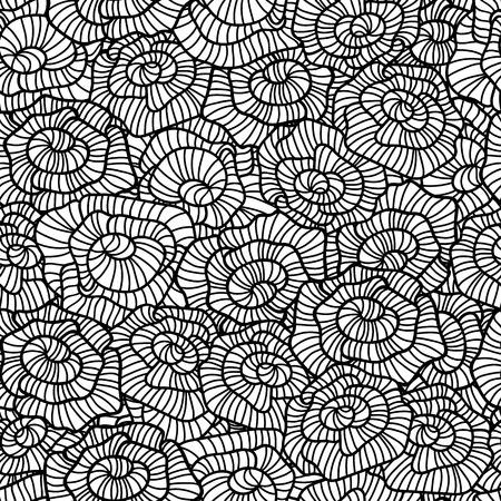 flower rose: Seamless pattern of modern design black and white flower rose silhouette for web, wrap, wallpaper  Vector illustration   Illustration