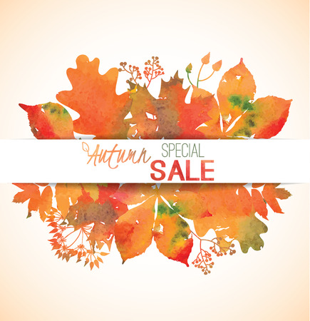 discount banner: Watercolor yellow, orange, red, green, golden foliage for banner, label, shop tag, seasonal discount, autumn sale, offer, poster, web, promotion Vector illustration eps 10