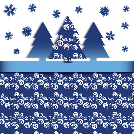vector eps10: Fir-tree and snowflake Vector eps10 Illustration