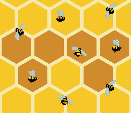 mead: Seamless patterns of honeycomb Vector eps10