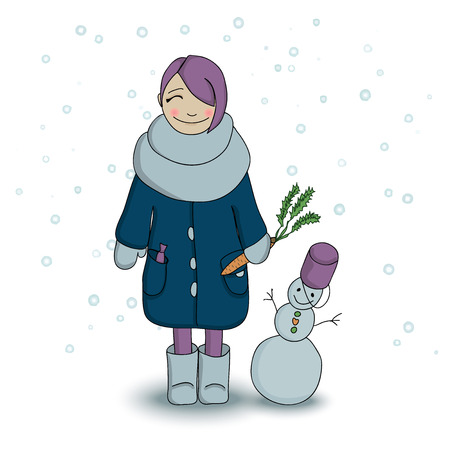 winter season: Girl and her snowman