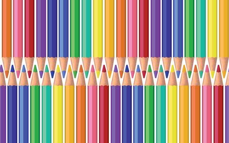 lapiz y papel: Tarjeta del verde azul rosa morado naranja lápiz de color amarillo para el folleto, papel, papel pintado, papel de, bandera, de fondo Vector ilustración eps 10