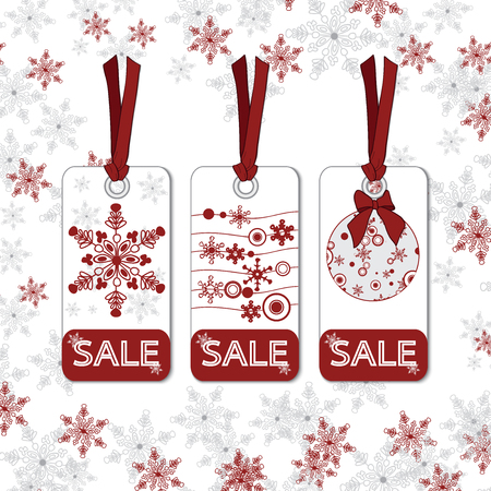 Christmas sale tags Vector eps10 Illustration