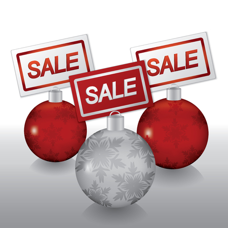 Sale tags on Christmas ball Vector eps10
