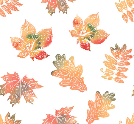 Seamless watercolor pattern of yellow, brown, green, orange foliage Vector illustration eps 10