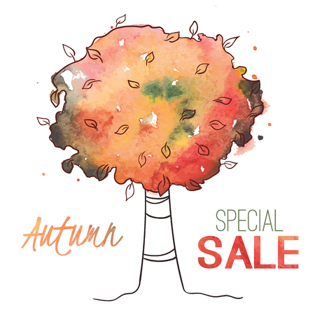Watercolor tree for banner, label, shop tag, seasonal discount, autumn sale, offer, poster, web Vector illustration eps 10