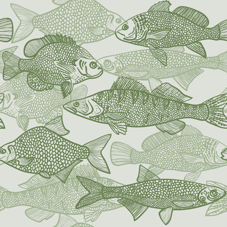 Seamless pattern of silhouette green various fishes Vector illustration eps10 Illustration