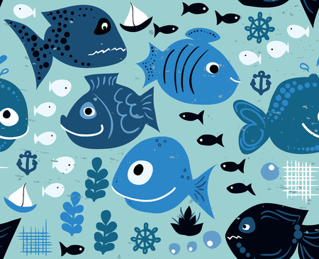 Fish seamless pattern Vector eps10