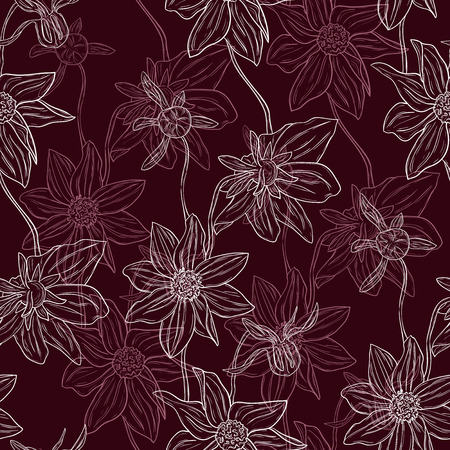 Seamless flowers pattern Vector eps10 Illustration