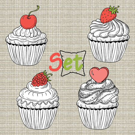Set of cakes Vector eps10 Illustration