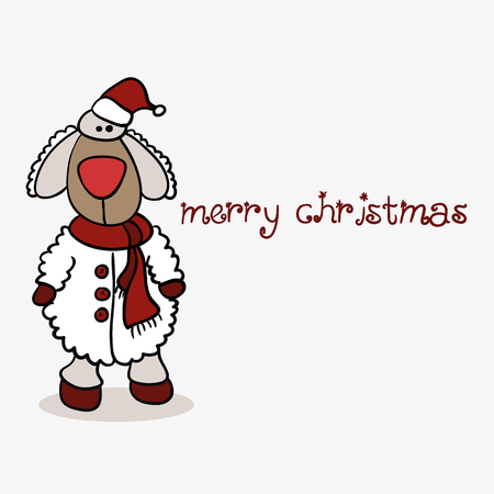 Christmas card sheep Vector eps10