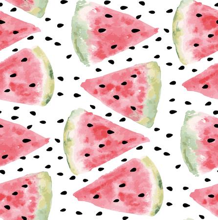 Naadloos patroon van zoete sappige stukken watermeloen aquarel met zaad Vector illustratie eps 10 Stock Illustratie