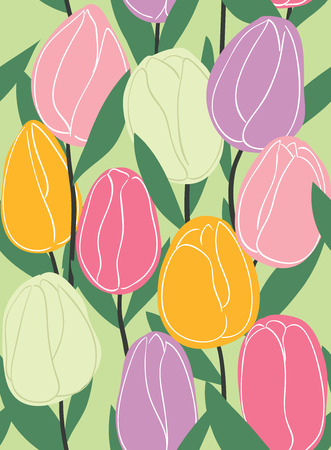 Seamless tulips pattern Vector eps10