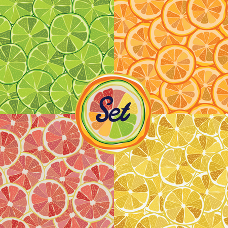 Set seamless fruit pattern Vector eps10