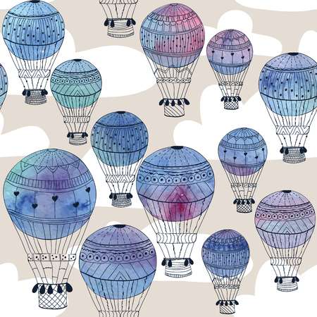 Seamless pattern watercolor aerostat Vector eps10 Illustration