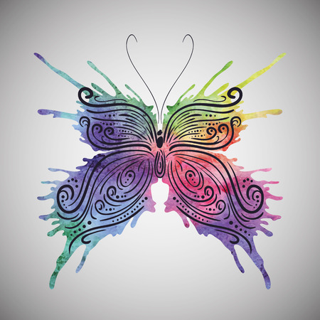 Watercolor butterfly Vector eps 10