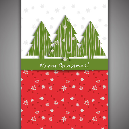 Christmas card Fir-tree and snowflake Vector eps10
