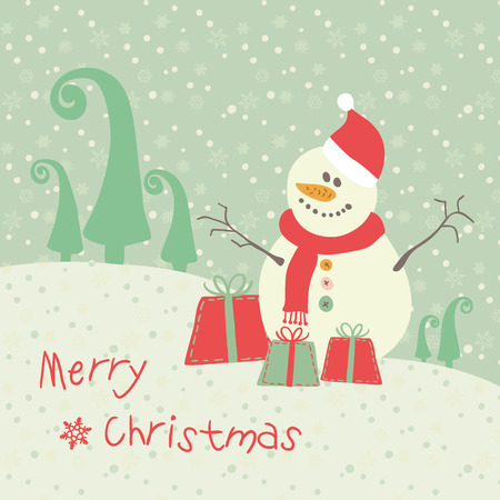 Christmas card cute snowman with gifts Vector eps10 Illustration