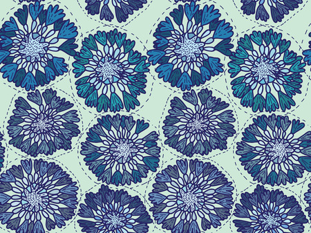 Seamless pattern cornflowers Vector eps 10