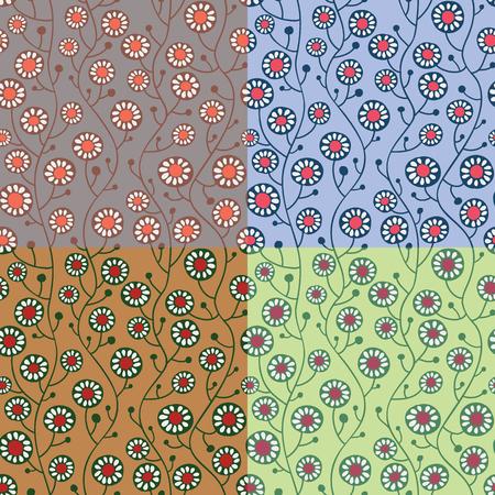 patrones de flores: Conjunto de patrones sin fisuras florales Vector eps10