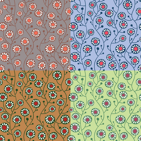 Set of seamless flower patterns Vector eps10